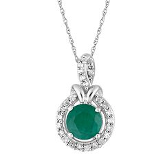 10k White Gold Emerald & 1/6 Carat T.W. Diamond Halo Pendant Necklace