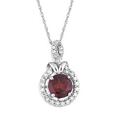 10k White Gold Garnet & 1/6 Carat T.W. Diamond Halo Pendant Necklace