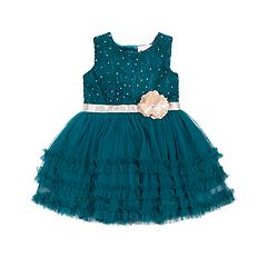 Girls 4-6x Little Lass Ruffled Tulle Lace Dress