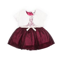 Girls 4-6x Little Lass Lace Dress & Faux-Fur Shrug Set