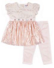 Girls 4-6x Little Lass Glittery Metallic Top & Leggings Set