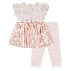 Girls 4-6x Little Lass Glittery Metallic Top & Leggings Set