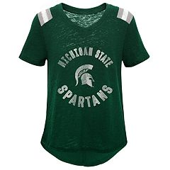 Girls 7-16 Michigan State Spartans Retro Block Slubbed Vintage Tee