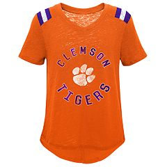 Girls 7-16 Clemson Tigers Retro Block Slubbed Vintage Tee
