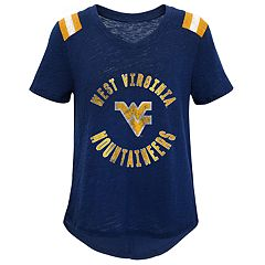 Girls 7-16 West Virginia Mountaineers Retro Block Slubbed Vintage Tee