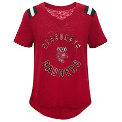 Girls 7-16 Wisconsin Badgers Retro Block Slubbed Vintage Tee