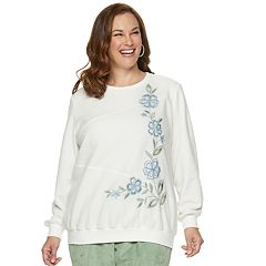 Plus Size Alfred Dunner Studio Embroidered Flower Fleece Sweatshirt