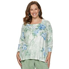 Plus Size Alfred Dunner Studio Scroll Embroidered Top