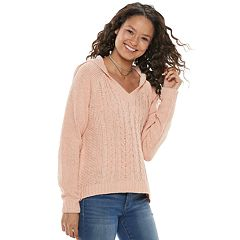 Juniors' SO® Marled Cable Chenille Hoodie