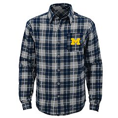 Boys 8-20 Michigan Wolverines Sideline Plaid Shirt