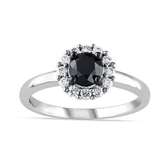 Lovemark 10k White Gold 1 Carat T.W. Black & White Diamond Halo Engagement Ring