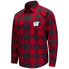 Men's Wisconsin Badgers Plaid Flannel Shirt