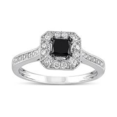 Lovemark 10k White Gold 1/2 Carat T.W. Black & White Diamond Halo Engagement Ring