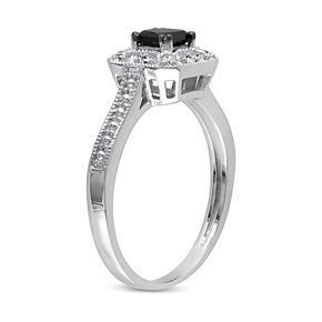 Lovemark 10k White Gold 1/2 Carat T.W. Black & White Diamond Halo Engagement Ring