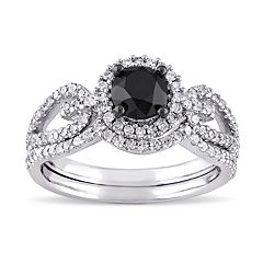 Lovemark 10k White Gold  1 1/2 Carat T.W. Black & White Diamond Engagement Ring Set