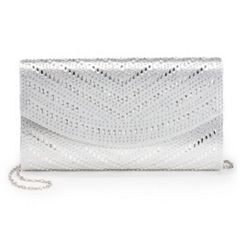 Lenore by La Regale Crystal Chevron Pattern Flap Clutch