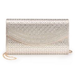 Lenore by La Regale Lattice Pattern Flap Clutch