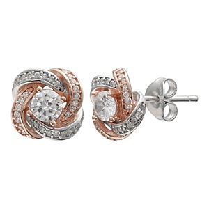 PRIMROSE Two Tone Sterling Silver Cubic Zirconia Love Knot Stud Earrings