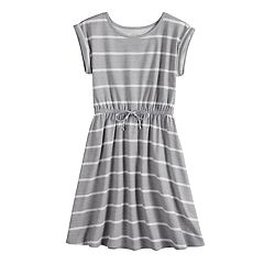 Girls 7-16 SO® Rolled Cuff Waist Tie Dress