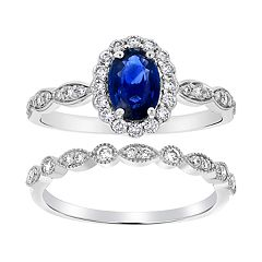 14k White Gold Sapphire & 1/2 Carat T.W. Diamond Halo Engagement Ring Set