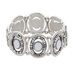 Silver Tone Oval Link Stretch Bracelet