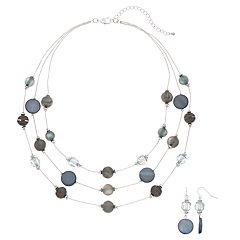 Gray & Blue Bead Multi Strand Necklace & Drop Earring Set