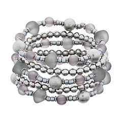 Gray Beaded Stretch Bracelet Set