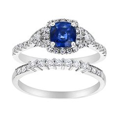 14k White Gold Sapphire Cushion & 5/8 Carat T.W.  Diamond Halo Engagement Ring Set