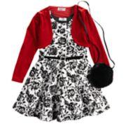 Girls 4-6x Knitworks Flocked Rose Dress, Velvet Shrug & Faux-Fur Purse Set