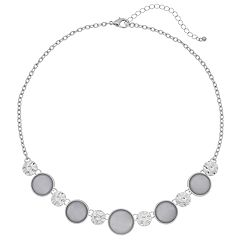 Gray Cabochon & Textured Disc Necklace