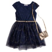 Girls 4-6x Knitworks Lace Glitter Tulle Dress & Purse Set