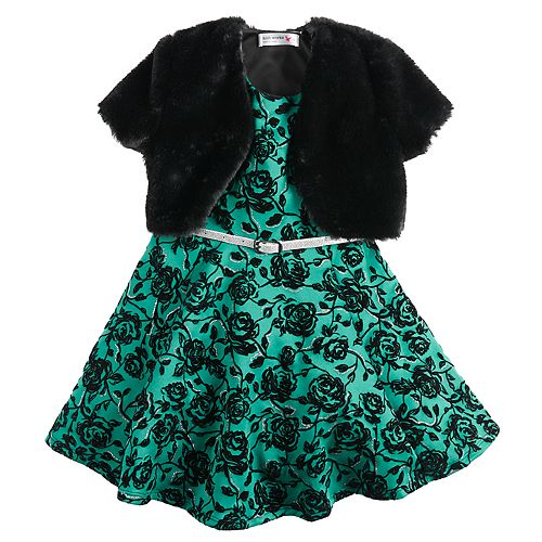 Girls 4-6x Knitworks Flocked Rose Dress & Faux-Fur Shrug Set