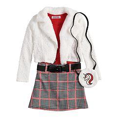 Girls 4-6x Knitworks Ribbed Plaid Dress, Textured Motorcycle Jacket & Unicorn Shrug Set