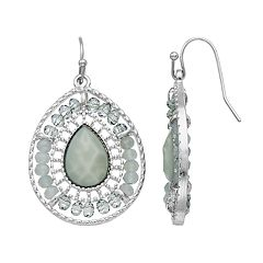 Gray Bead Teardrop Earrings