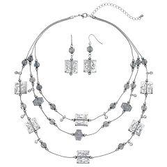 Gray Beaded Triple Row Necklace & Drop Earring Set