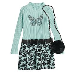 Girls 4-6x Knitworks Ribbed Butterfly Dress & Faux-Fur Purse Set