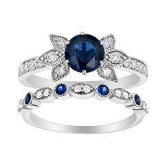 14k White Gold Sapphire & 1/3 Carat T.W. Diamond Engagement Ring Set