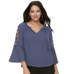 Women's Jennifer Lopez Strappy Crepe Peasant Top