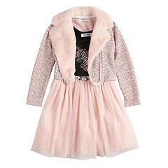 Girls 4-6x Knitworks Unicorn Tulle Dress & Textured Motorcycle Jacket Set