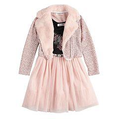 Girls 4-6x Knitworks Unicorn Tulle Dress & Textured Motorcycle Jacket Set