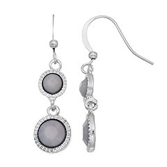 Gray Disc Nickel Free Drop Earrings
