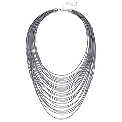 Gray Cord & Curved Bar Multi Strand Necklace