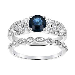 14k White Gold Sapphire & 1/2 Carat T.W. Diamond Engagement Ring Set