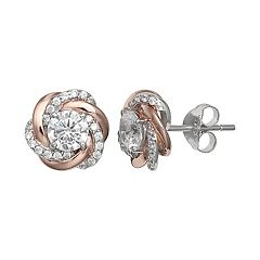 PRIMROSE Two Tone Sterling Silver Cubic Zirconia Love Knot Stud Earrings