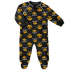 Baby Iowa Hawkeyes Raglan Zip-Up Coverall