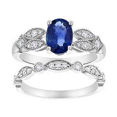 14k White Gold Sapphire & 3/8 Carat T.W. Diamond Engagement Ring Set