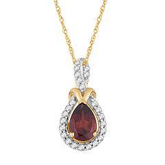 10k Gold Garnet & 1/6 Carat T.W. Diamond Halo Pendant Necklace