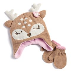 Baby Girl Deer Fleece Hat & Mittens Set