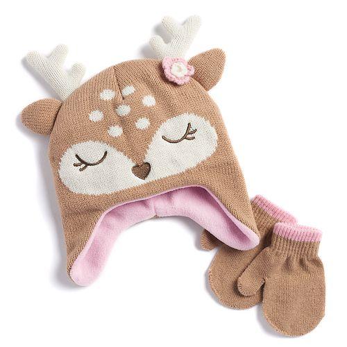 Baby Girl Deer Fleece Hat   Mittens Set 444c39cde19