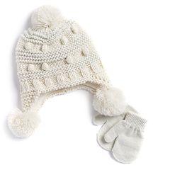 Baby Girl Glittery Pom Hat & Mittens Set
